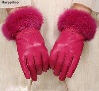 High Quality Women Lady Black Sheepskin Leather Gloves Autumn Winter Warm Rabbit Fur Mittens Hottest