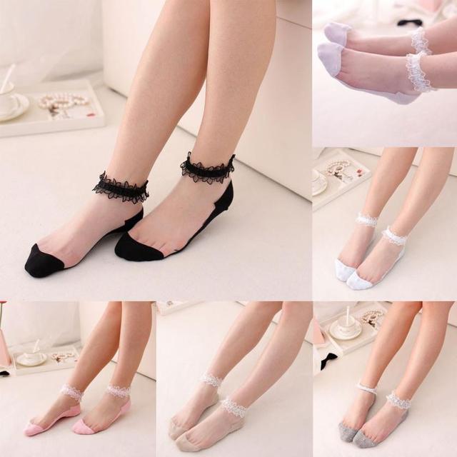 Muqgew Популярные ультратонкий прозрачный красивый кристалл кружева Сказочный эластичный удобные короткие носки дышащие лодочки носки Soxs