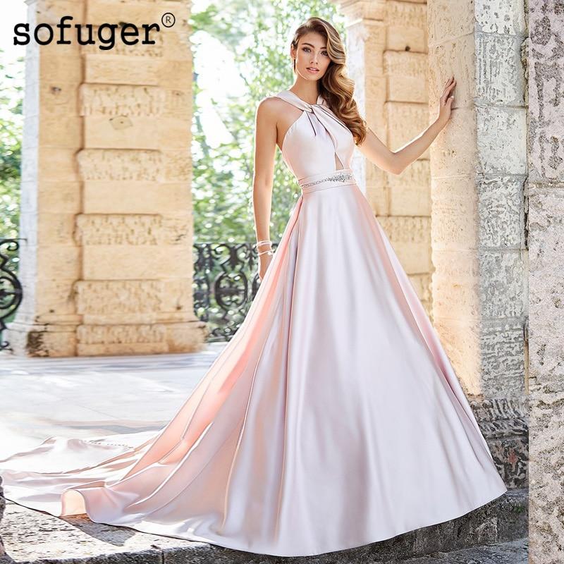 Blush Wedding Dresses Halter Satin