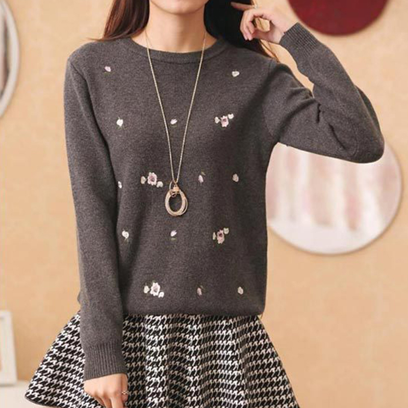 Women Knit Pullovers Autumn O-Neck Embroidery Sweater Female Loose Pullover Casual All-match Jumper Women