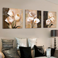 3PCS Unframed Tulip Calla Canvas Painting Chinese Rose Flower Wall Painting Drawingroom Bedroom Printed Art Picture Home Decor