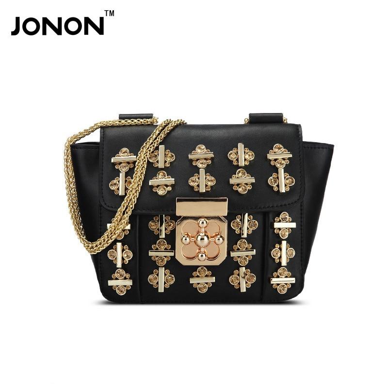 JONON Women Messenger Bags Leather Handbags Bags Women Famous Brands Chains Crossbody Bags For Women Folded Woman Ladies