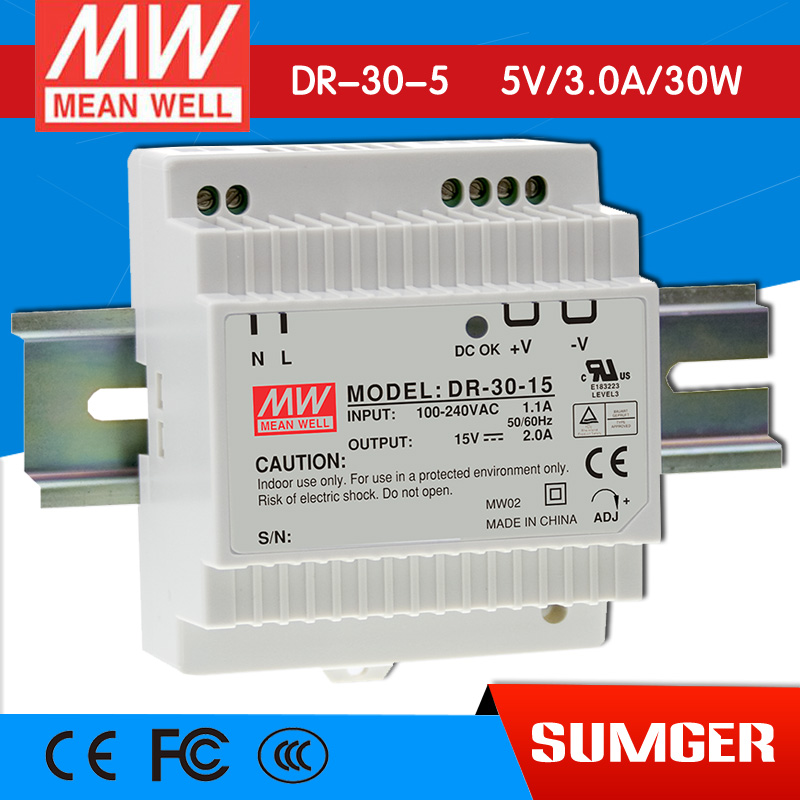 ФОТО [Freeshiping 2Pcs] MEAN WELL original DR-30-5 5V 3A meanwell DR-30 5V 15W Single Output Industrial DIN Rail Power Supply