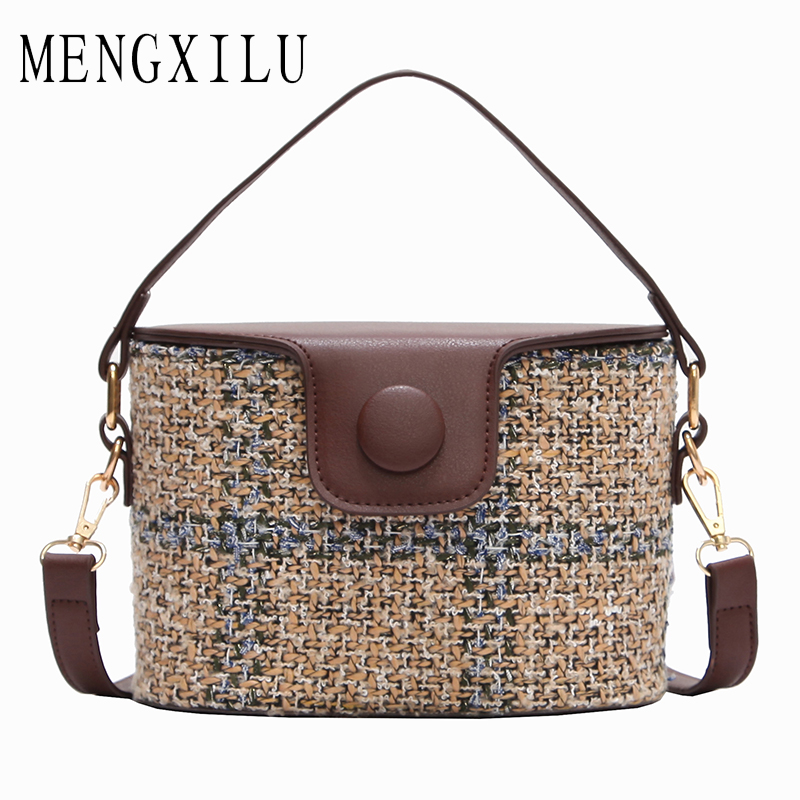 MENGXILU Brand Bucket Crossbody Bags For Women Knitting Women Messenger Bag Casual Tote Designer Handbags High Quality Sac 2018 women handbag shoulder bag messenger bag casual colorful canvas crossbody bags for girl student waterproof nylon laptop tote
