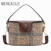 MENGXILU Brand Bucket Crossbody Bags For Women Knitting Women Messenger Bag Casual Tote Designer Handbags High