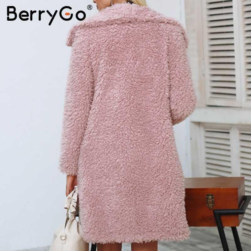 BerryGo повседневное пальто из искусственного меха женская модная уличная элегантная Длинная Верхняя одежда женское 2018 розовое теплое осенне-зимнее пальто