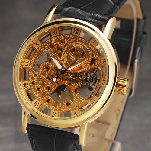 Gorgeous Ultra-thin Golden Hollow Carve Dial Luxury Leather Band Mechanical Watches Men's Watch 5V87 Clock ultra luxury 2 3 5 modes german motor watch winder white color wooden black pu leater inside automatic watch winder