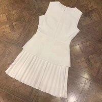 Летнее плиссированное платье белый черный платье элегантное, миди 2019 модное платье для женщин платья без рукавов А силуэта женское шифонов