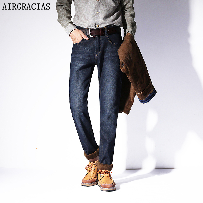 AIRGRACIAS Mens Winter Stretch Thicken <font><b>Jeans</b></font> Warm Fleece High Quality Soft Denim Biker <font><b>Jean</b></font> Pants Trousers Size 28-42 Brand <font><b>Jean</b></font>