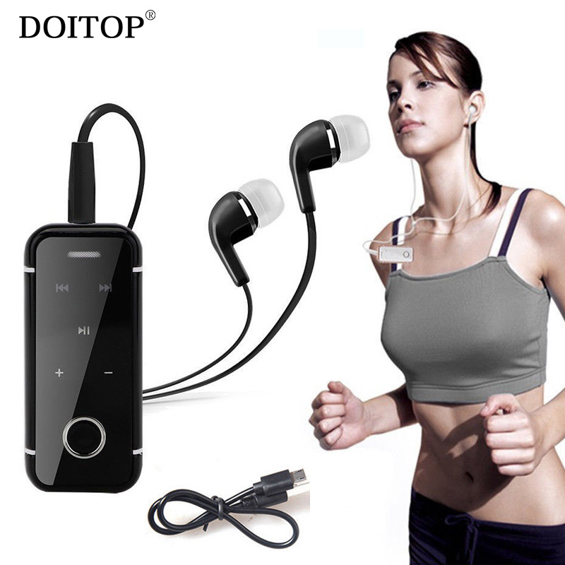 DOITOP Collar Clip Handsfree Sport MP3 Music Stereo Wireless Bluetooth Headset Heahphone Earphone Earbud With Call Shock Tips
