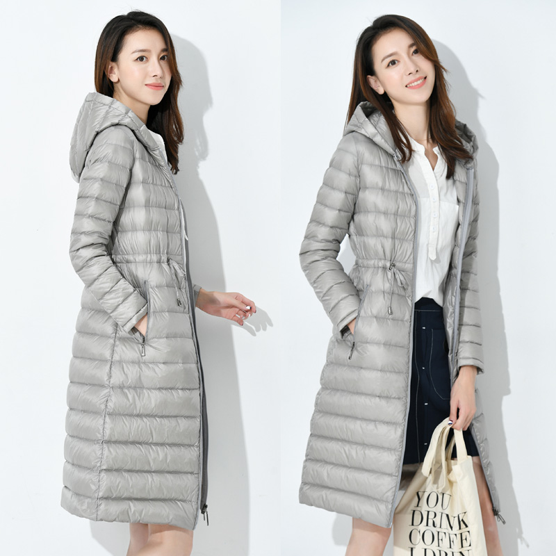 Kobieta długa nieważka kurtka damska z kapturem Ultra lekkie wyściełane kurtki zimowe puchowe Casual parki solidne