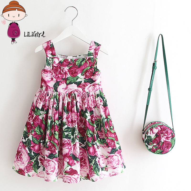 LILIRIGL 2017 Summer Girl Dress New High End Brand Princess Party Sleeveless Dress + Shoulder Bags toddler girl dresses 2-7Y ems dhl free shipping toddler little girl s 2017 princess ruffles layers sleeveless lace dress summer style suspender