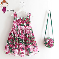 LILIRIGL 2017 Summer Girl Dress New High End Brand Princess Party Sleeveless Dress Shoulder Bags Toddler