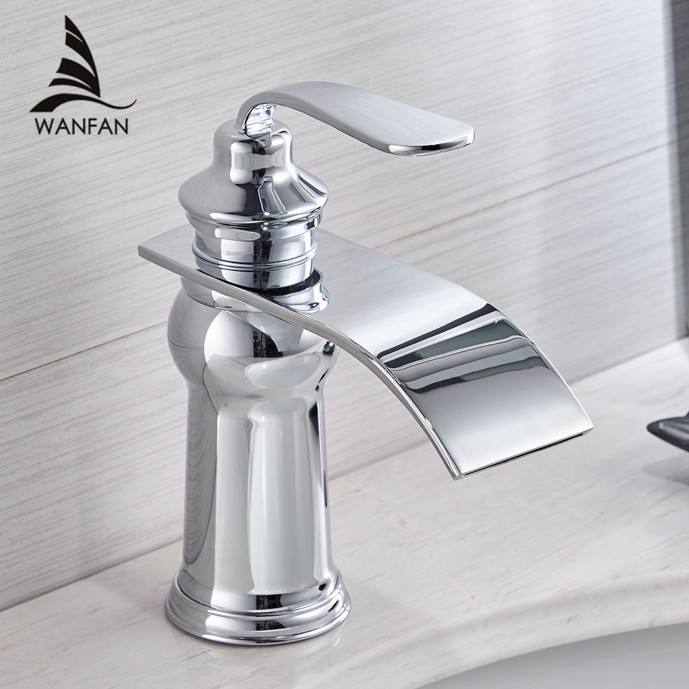 Basin Faucets Modern Style Bathroom Faucet Deck Mounted Waterfall Single Hole Mixer Taps Both Cold and