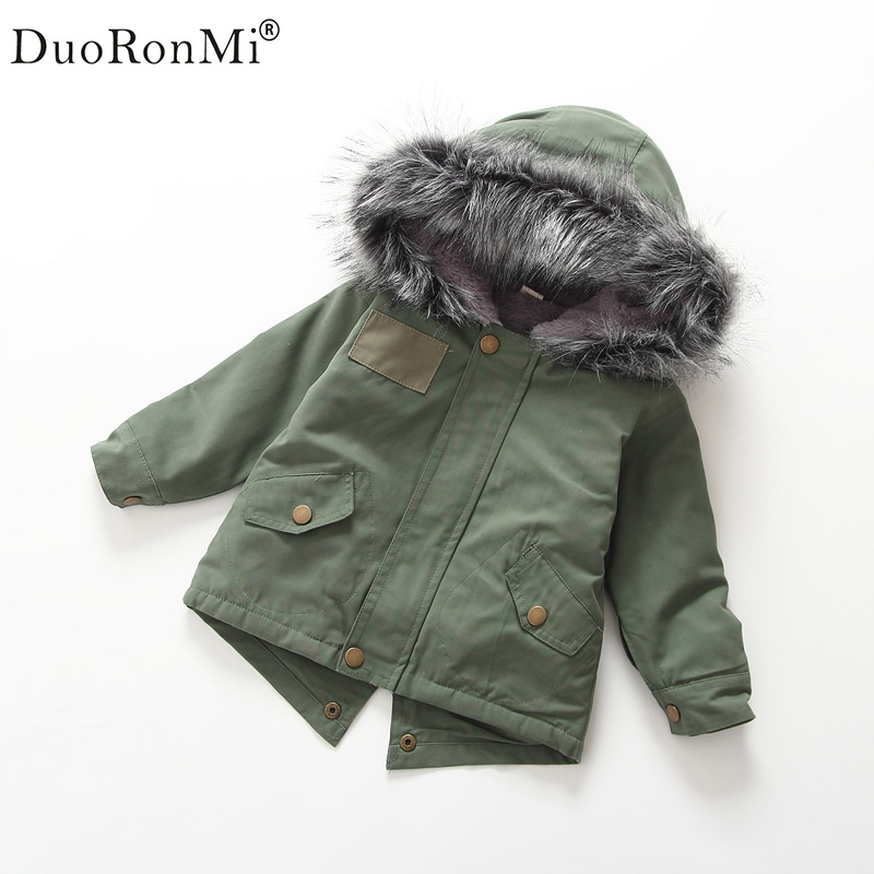 2017 New Fashion Cute Winter Toddler Kids Baby Girl Green Tops Windbreaker Jacket Coat Cotton Outwear With Big Hair Collar