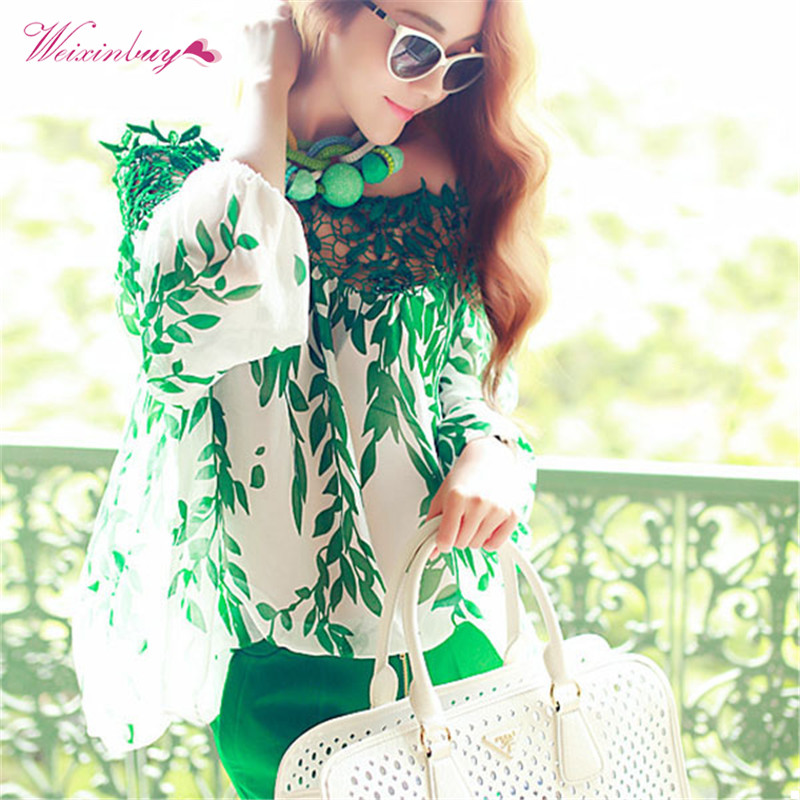 Lady Women Green Leaf Blouse Hollow Long Sleeve Blouse Lace Crochet Chiffon Top Long Sleeve Shirt Blusas(China)