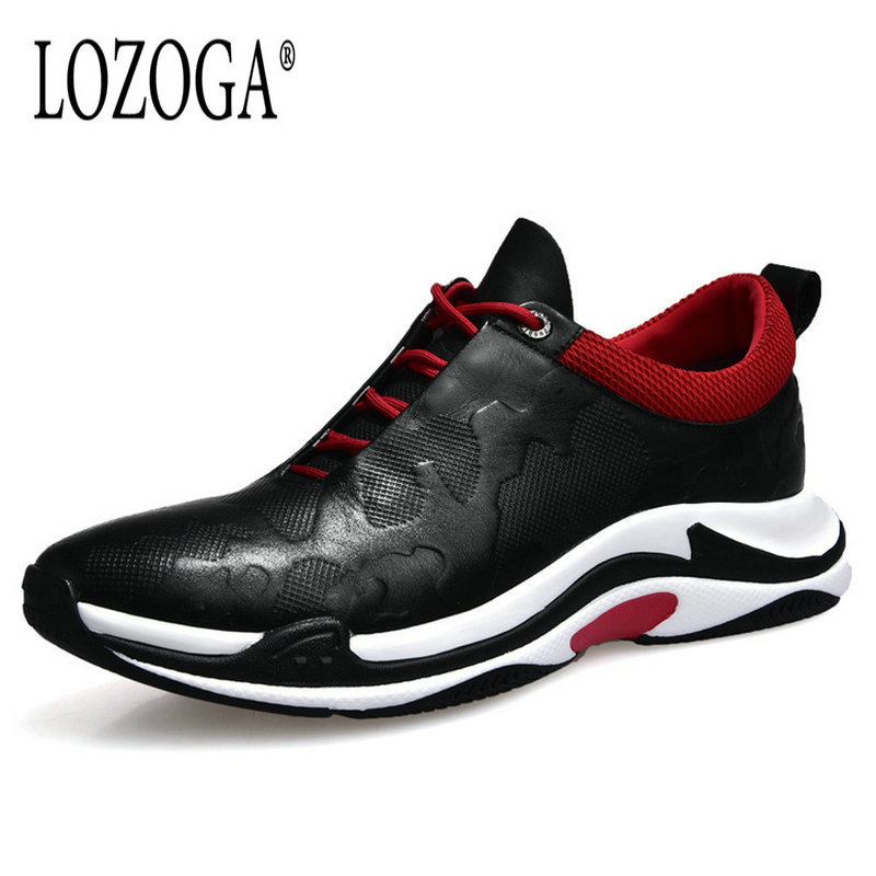 Lozoga New Hotsell Men's Leather Shoes Cow Leather Casual Shoes Comfortable Lace Up Top Quality Men Fashion Sneakers Brand Flats кейтлин крюс не смогу жить без тебя