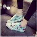 Estampado floral Zapatos de Lona bajos para ayudar a Las Mujeres de Moda Retro de Las Mujeres Zapatos de Plataforma Plana 9152