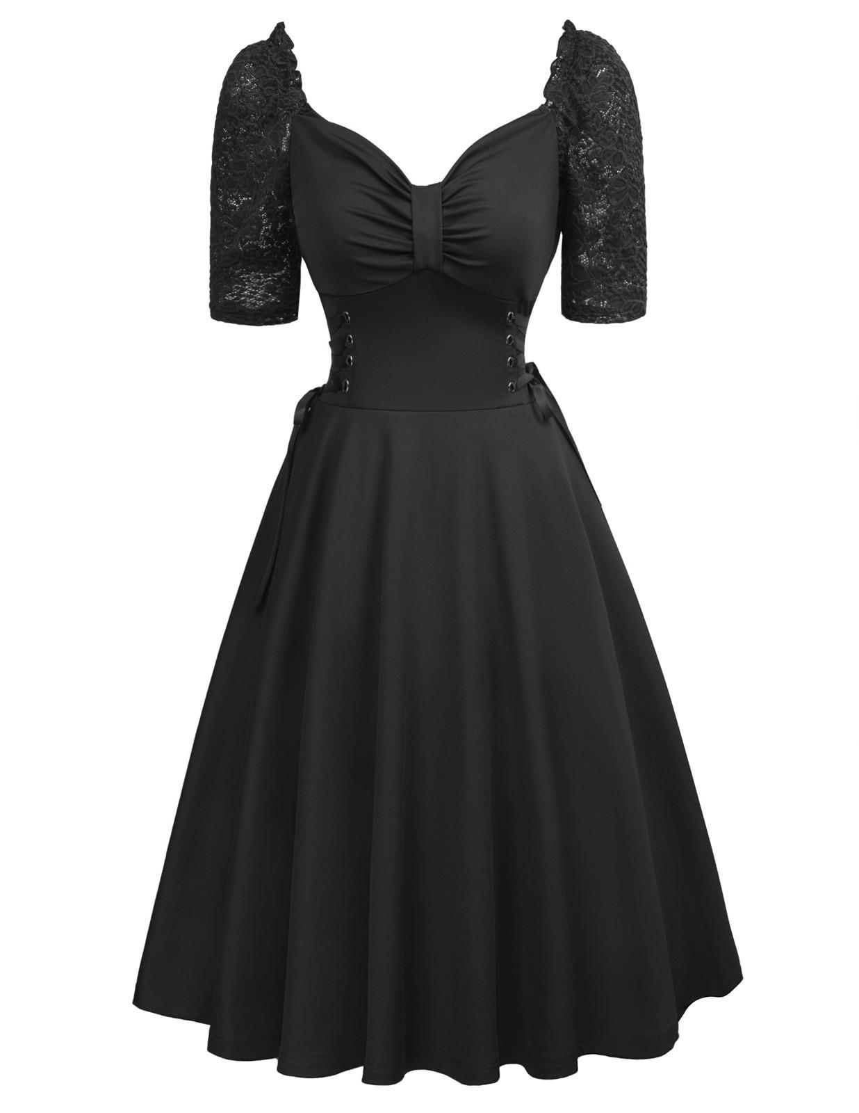 dress women summer Retro Vintage Women Solid Color lace half Sleeve V-Neck A-Line evening Party Dress vestidos de festa 2018