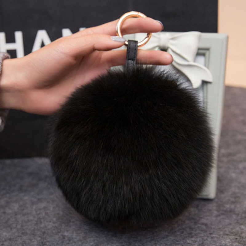 Big Fox Fur Pompom Ball Keychain with Gold Silver Color Metal KeyRing For Women Handbag Car KeyChain Pendent Decorations