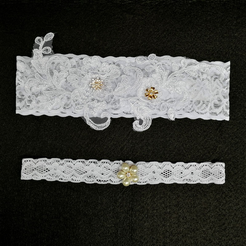 Bridal Garters White Embroidery Floral Beading Rhinestone Female Wedding Garters For Bride 1pc/2pcs Rubber Band Leg Garter Wg010 Sturdy Construction Women's Intimates Underwear & Sleepwears