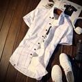MIUK Большой Размер Хлопок Плед Сорочка Homme M ~ 5XL Серый Белый Серый С Коротким Рукавом Camisa Masculina Бренд Clothing Men рубашки 2017