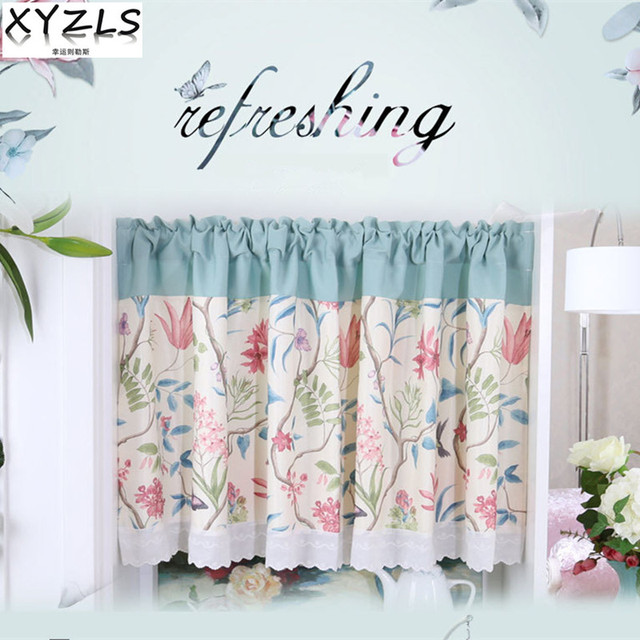XYZLS American Style Pure Flower Butterfly Blinds Kitchen Curtains Cafe  Curtain Short Panel Drapes Valance For