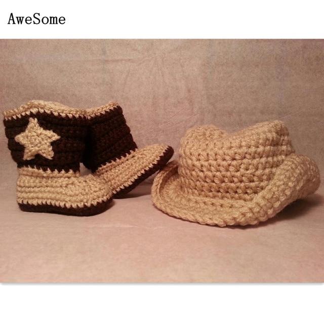 Baby Cowboys Hat & Boots Set,Handmade Knit Crochet Newborn Beanie ...