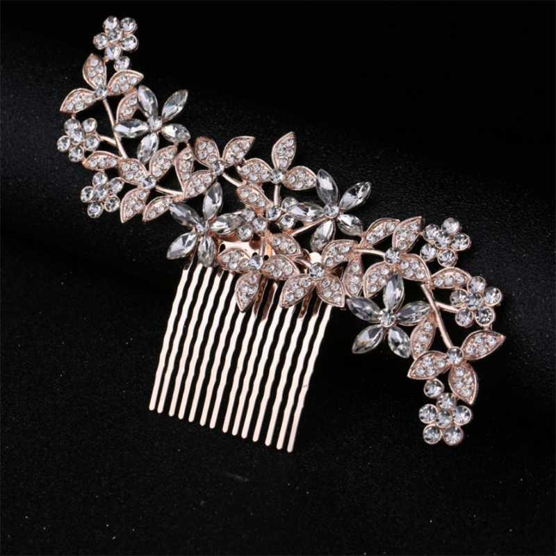 JAVRICK нежный гребень невесты головные уборы с горным хрусталем аксессуары для волос для свадьбы Для женщин ювелирные изделия аксессуары ручной работы для волос