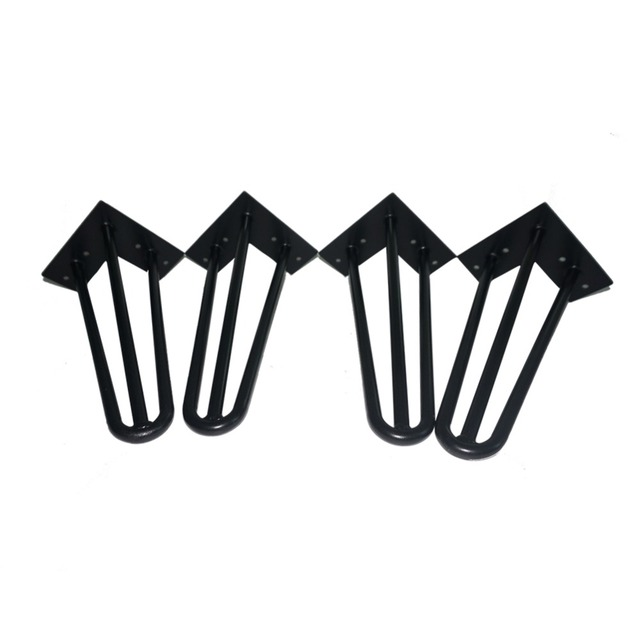 "12"" hairpin leg free shipping - matte black - 1/2"" steel rod - set of 4 small furniture legs"