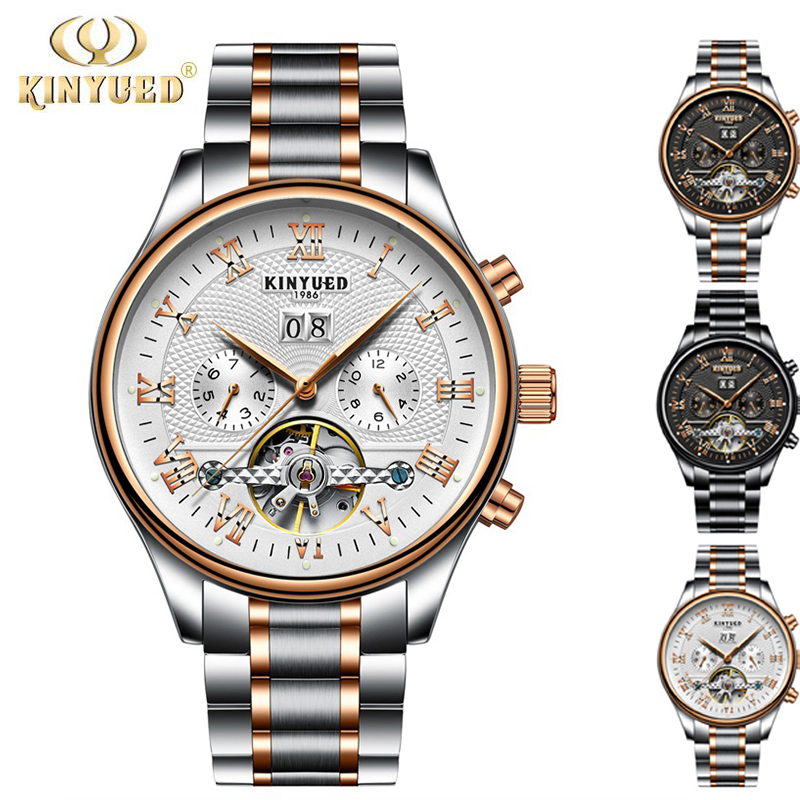 KINYUED Skeleton Automatic Watch Men Waterproof Flying Tourbillon Mechanical Watches Mens Luxury Clock Self Winding Horloges fngeen luxury men watches self winding tourbillon wristwatch date high quality waterproof automatic hodinky mechanical watches page 6