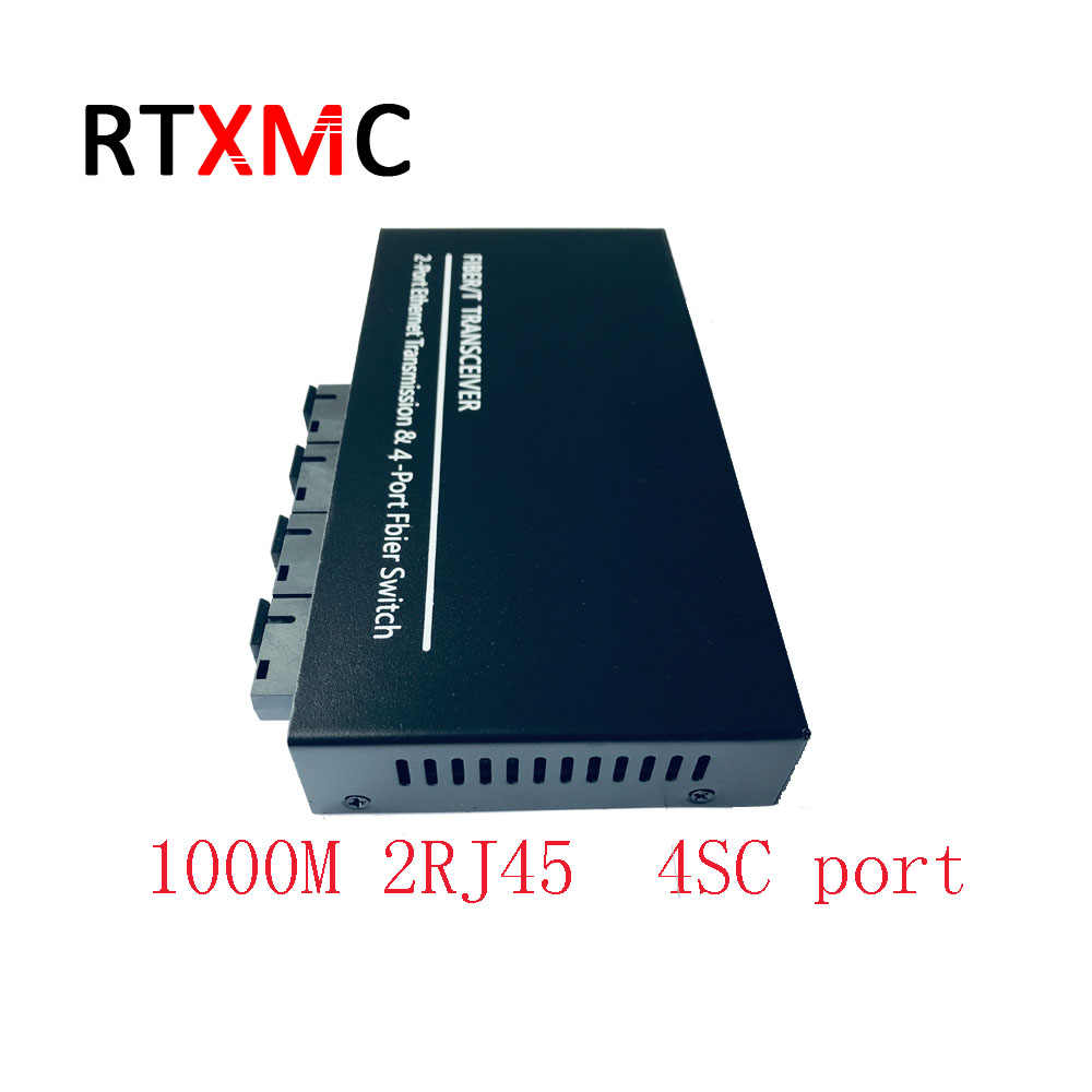 10/100/1000 M Gigabit Ethernet de fibra óptica convertidor de medios de modo único 1,25G 1000 M 2RJ45 4SC Puerto 2UTP sola fibra de mc
