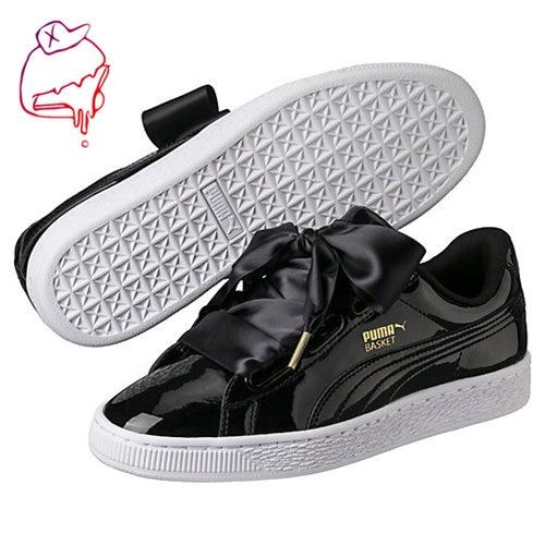 Original PUMA Basket Heart Patent Women's Sneakers Suede Satin Badminton Shoes size36-40 arrival original puma rihannas women s shoes pescara kawasaki breathable sneakers badminton shoes size36 39