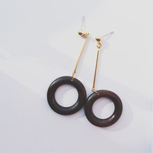 Exaggerated restoring ancient ways temperament of round wood long Ms earrings pendants 2016 free shipping direct manufacturers