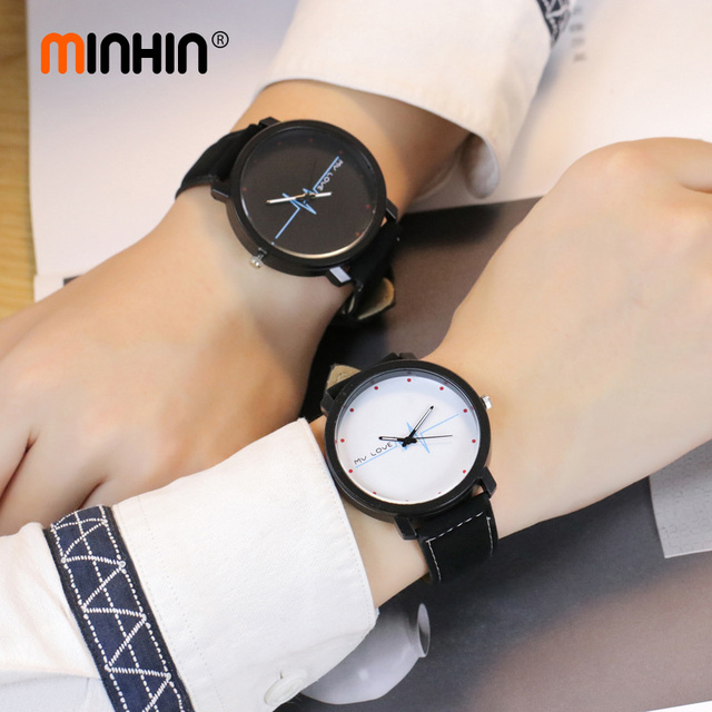 MINHIN Fashion Couple Casual Watches Personalized Heartbeat Doodle Velvet Wrist Watches Student Leather Quartz Watch