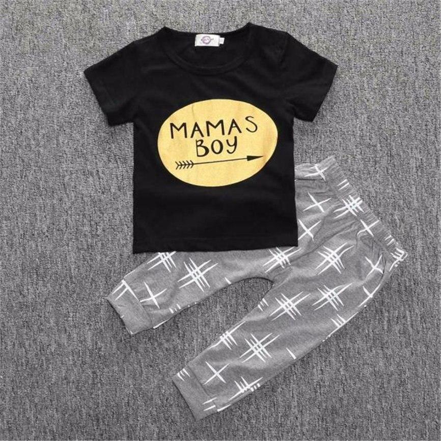 Комплект одежды для мальчиков 2018 Повседневное детский спортивный Костюмы новорожденных Для мальчиков ясельного возраста футболка комплек...