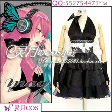 Japanese Anime VOCALOID Luka Megurine MAGNET Cosplay Costume Black  Halloween Party Backless Sexy Women Dress d29f63444304