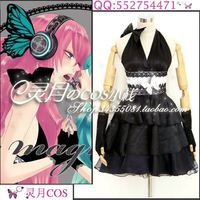Japanese Anime VOCALOID Luka Megurine MAGNET Cosplay Costume Black Halloween Party Backless Sexy Women Dress
