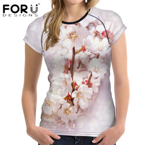 FORUDESIGNS Pink Peach Blossom Women T Shirt 3D Floral Printed Top Tees for Teens Girls Brand Short Sleeve Slim Fit Tee Shirts
