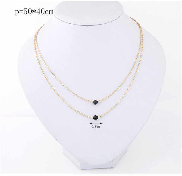 Kymyad Gold Color Crystal Choker Necklace Women Tassel Necklaces Pendants Collier Femme Long Necklace Thin Chunky Necklaces New