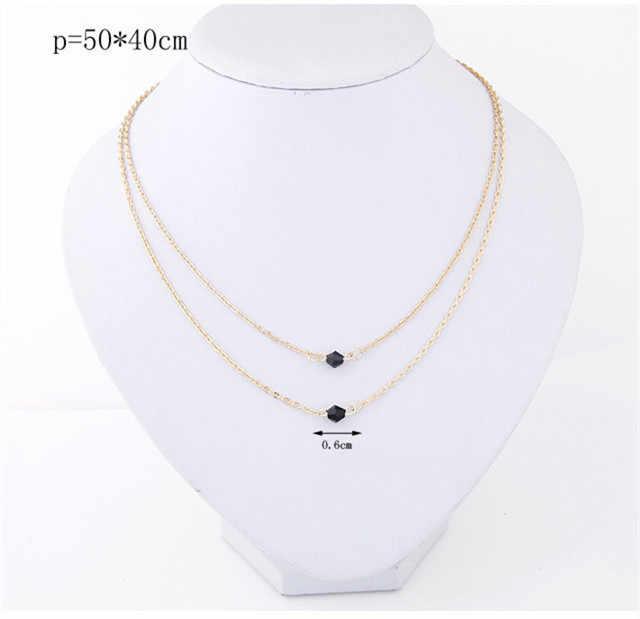 Kymyad kryształ w złotym kolorze Choker naszyjnik kobiety Tassel naszyjniki wisiorki Collier Femme długi naszyjnik cienkie masywne naszyjniki nowy