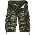2016 dos homens da Marca Casuais Calções Camuflagem Shorts Da Carga Dos Homens Soltos Tamanho Grande Multi-Bolso Militar Calças Curtas Macacão 9 Cores