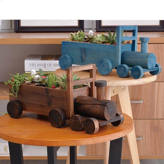 Madera hecha a mano maceta creativa Automotive styling madera maceta ...