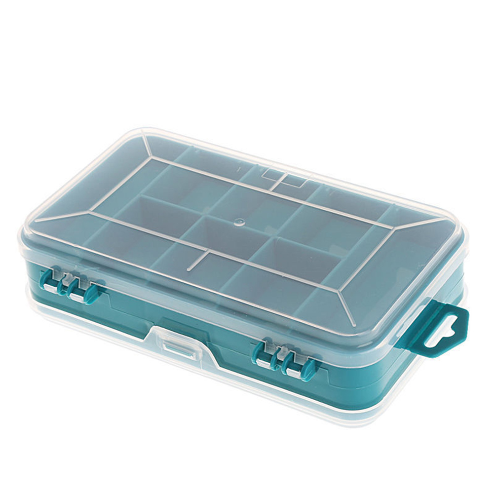 13 Grids PP Plastic Tools Storage Box Jewelry Beads Screws Storage Case Double-Side Small Electronic Tools Holder Green Box