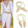 Metal de la manera Correa de Las Mujeres 2016 de Las Mujeres Cinturones de Marca de Lujo Deja Forma Elegante Cinturón de Cintura Elástica Vestido Femme Oro Plata Color
