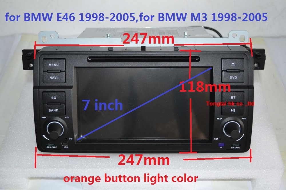7 inch  Android 5.1.1 for bmw E46,M3,car dvd,gps navigation,wifi,3G,BT,canbus,radio,RDS,7851,quad core,1024x600,support obd2,dvr автомобильный dvd плеер joyous kd 7 800 480 2 din 4 4 gps navi toyota rav4 4 4 dvd dual core rds wifi 3g