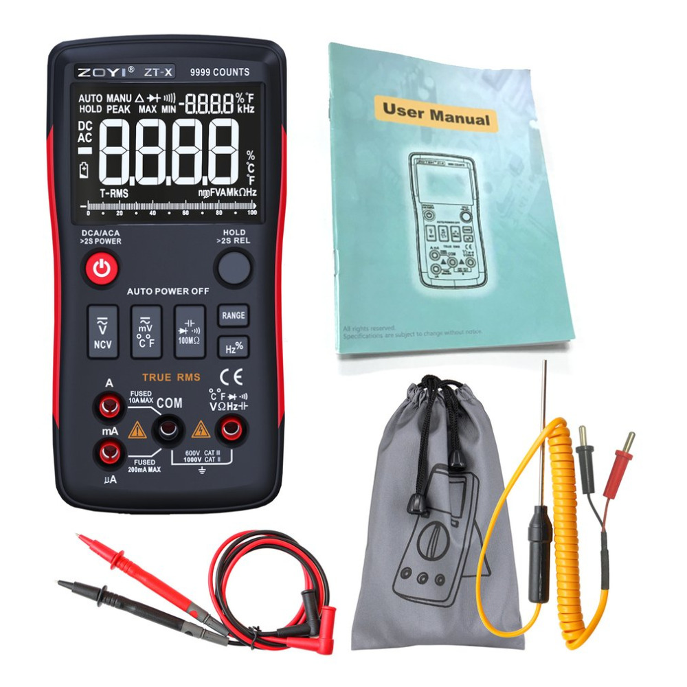 ZOYI Digital Multimeter AC/DC Voltage Current Resistance Tester Capacitance Frequency Duty Cycle Diode Continuity NCV Temperatu automotive multimeter test vehicle car battery dc ac voltage frequency resistance diode pen style tester