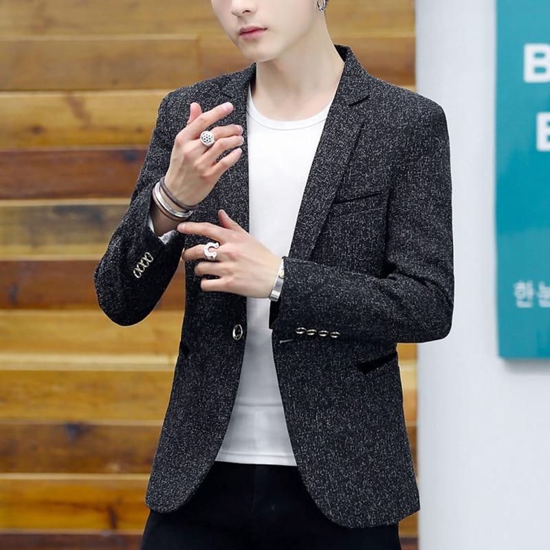 Autumn Men's Striped Blazer Winter 2019 Fashion Business Slim Fit Suit Jacket Male Brand Wedding Dress Blazers Men Casual Suits