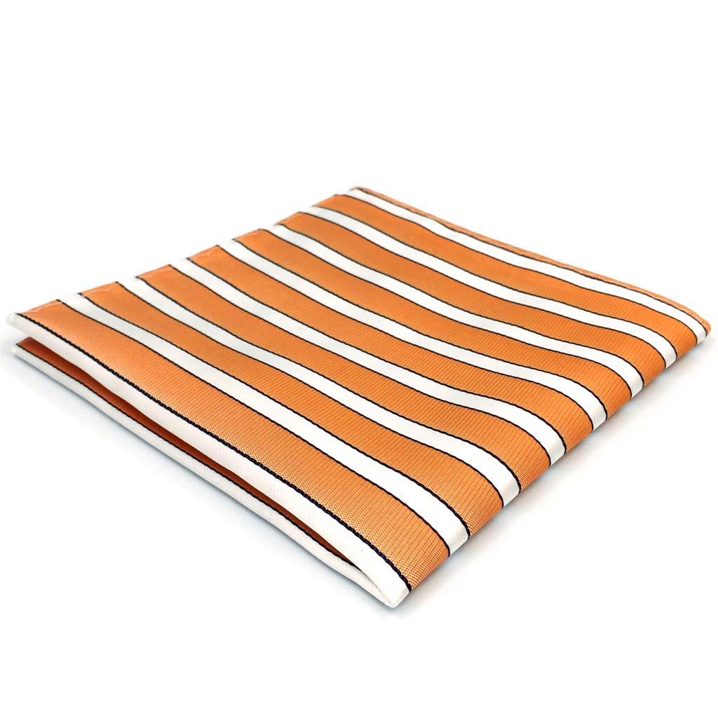 FH26 Orange White Striped Mens Pocket Square Fashion Handkerchief Wedding Hanky