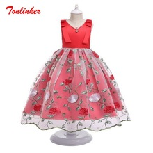 Beautiful Princess Girl embroidery Flower Wedding Ball Gown Party Dresses Kids Birthday Theme Party Dress
